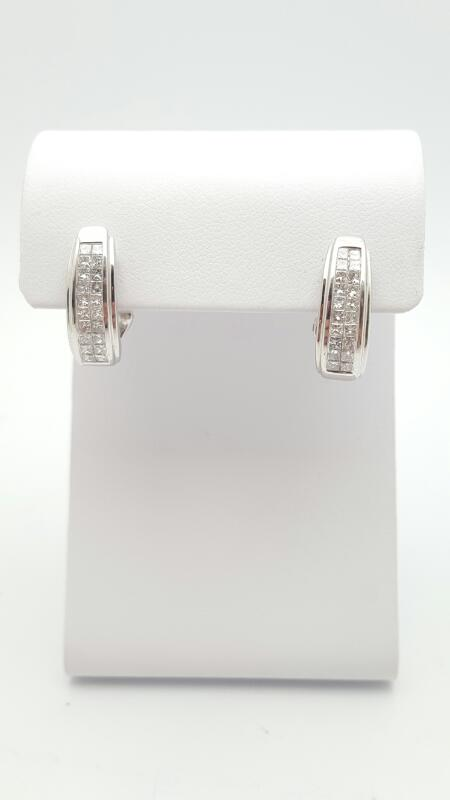 Gold-Diamond Earrings 40 Diamonds 1.00 Carat T.W. 14K White Gold 5.4g