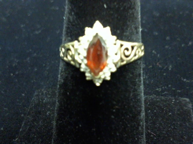 Synthetic Almandite Garnet Lady's Stone Ring 14K Yellow Gold 1dwt
