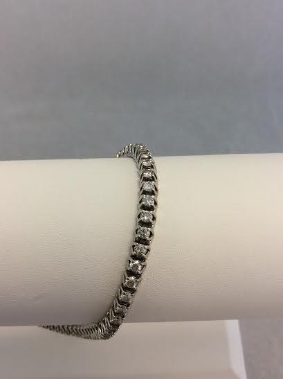 Gold-Diamond Bracelet 60 Diamonds 3.00 Carat T.W. 10K White Gold 10.97g
