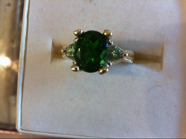 Emerald Lady's Stone Ring 14K Yellow Gold 4.3g