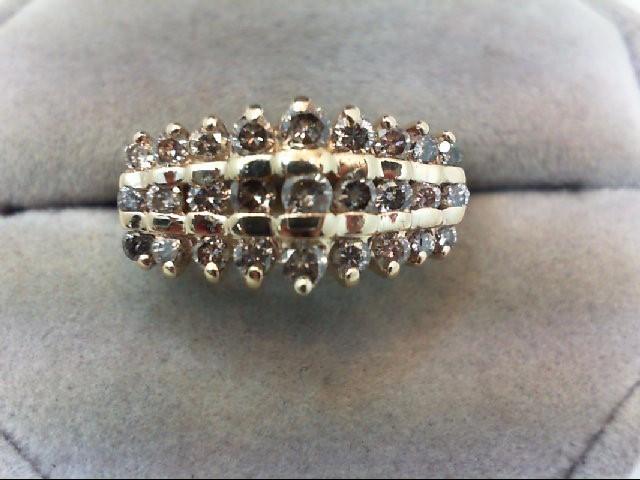Lady's Diamond Cluster Ring 27 Diamonds 1.02 Carat T.W. 10K Yellow Gold 4g