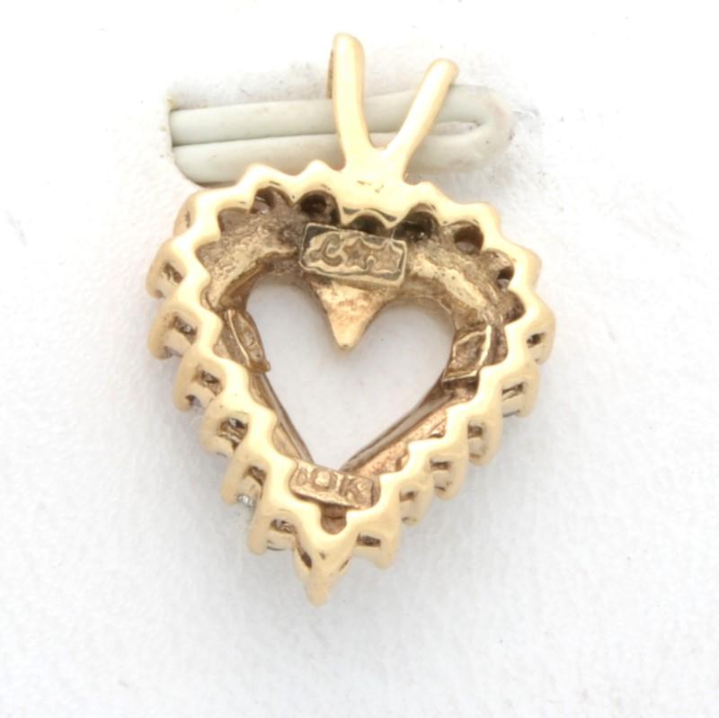 ESTATE DIAMOND HEART PENDANT CHARM SOLID 10K YELLOW GOLD LOVE SMALL