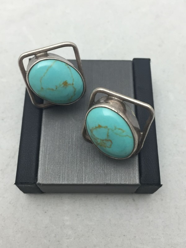 Sterling Silver .925 Turquoise Earrings 11.2dwt
