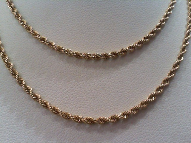 """20"""" Gold Rope Chain 14K Yellow Gold 7g"""