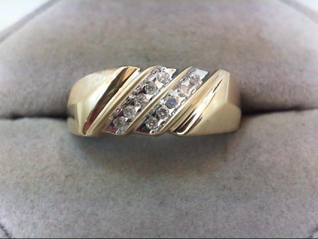 Gent's Gold-Diamond Wedding Band 10 Diamonds .10 Carat T.W. 10K Yellow Gold