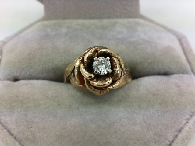 Lady's Diamond Solitaire Ring 0.2 CT. 14K Yellow Gold 4.1g Size:5