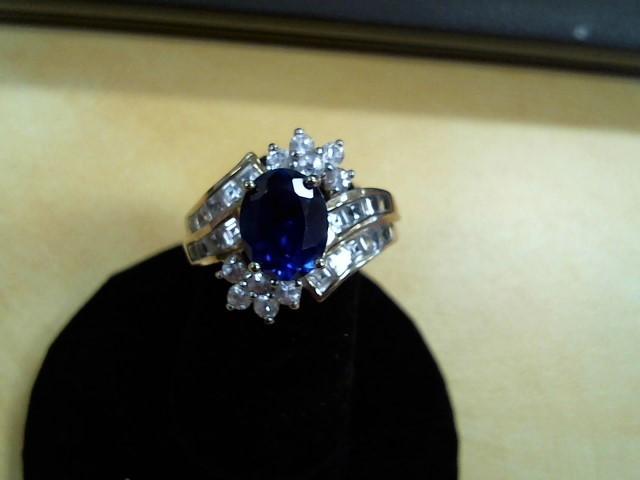 Blue Stone Lady's Stone & Diamond Ring 90 Diamonds .97 Carat T.W.