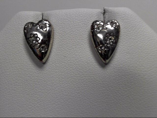 Sterling Silver CZ Heart Earrings 4.8g