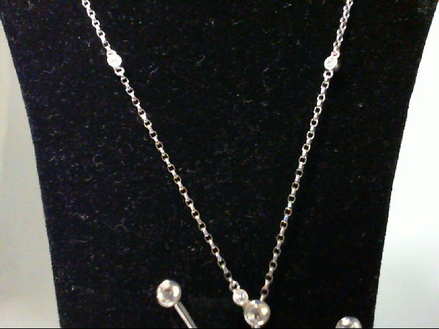 Diamond Necklace 25 Diamonds 97 Carat T.W. 14K White Gold 6.75g