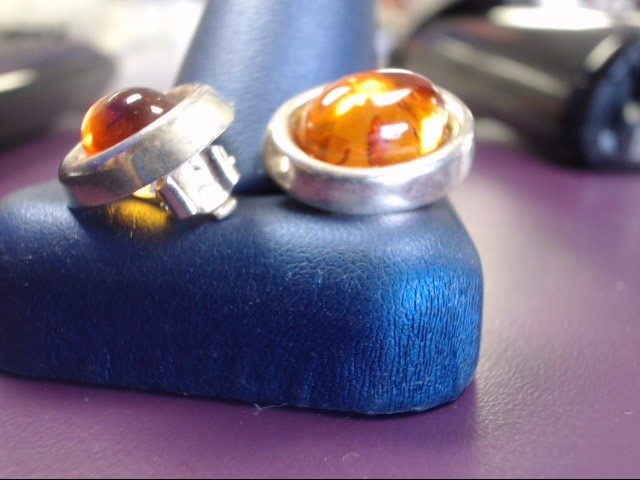 Amber Silver-Stone Earrings 925 Silver 5.1g
