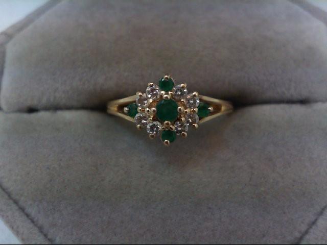 Emerald Lady's Stone & Diamond Ring 8 Diamonds .32 Carat T.W. 14K Yellow Gold