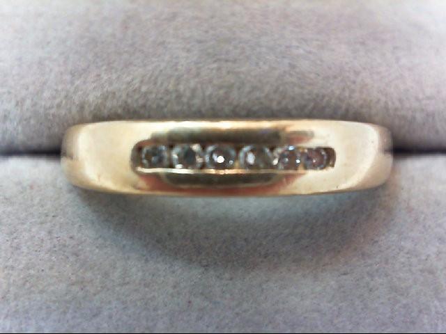 Gent's Gold-Diamond Wedding Band 6 Diamonds .12 Carat T.W. 14K Yellow Gold 3.4g