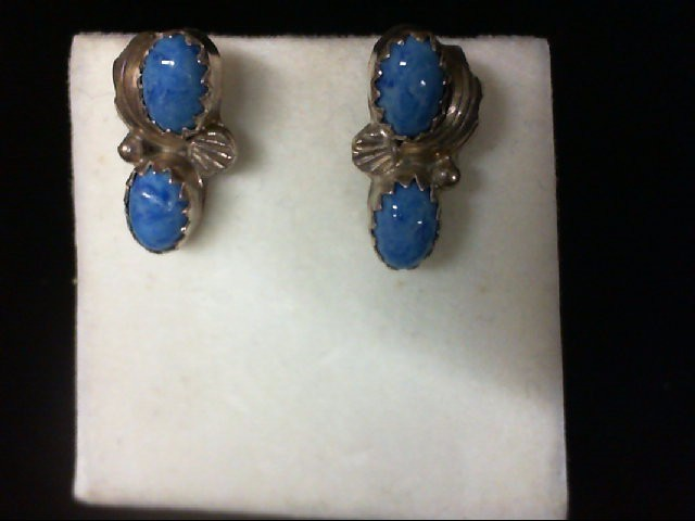 Turquoise Silver-Stone Earrings 925 Silver 1.9g