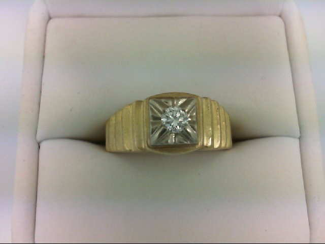 Gent's Diamond Solitaire Ring .21 CT. 14K Yellow Gold 5.3g Size:9