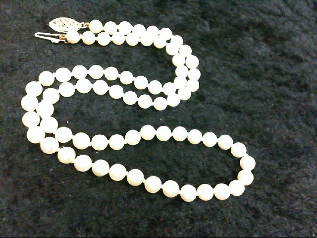 "16"" Pearl Stone Necklace 14K Yellow Gold 11.2g"