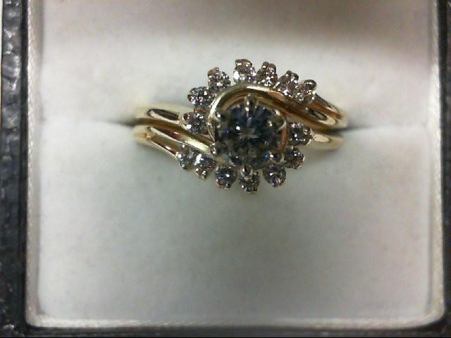 Lady's Diamond Wedding Set 15 Diamonds 0.63 Carat T.W. 14K Yellow Gold 4.4g