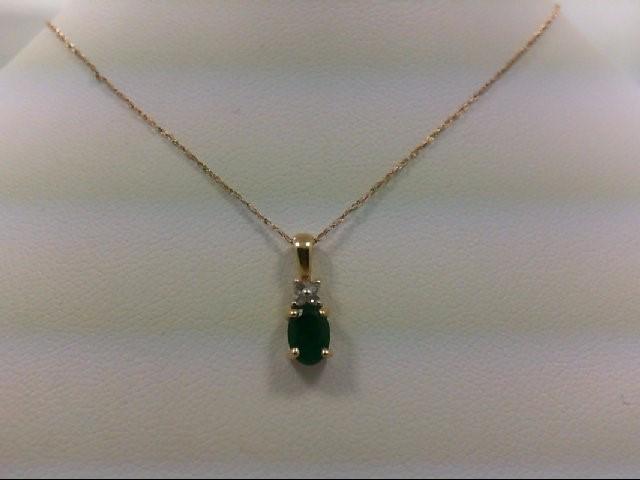 Emerald Gold-Diamond & Stone Pendant 4 Diamonds 0.04 Carat T.W. 14K Yellow Gold