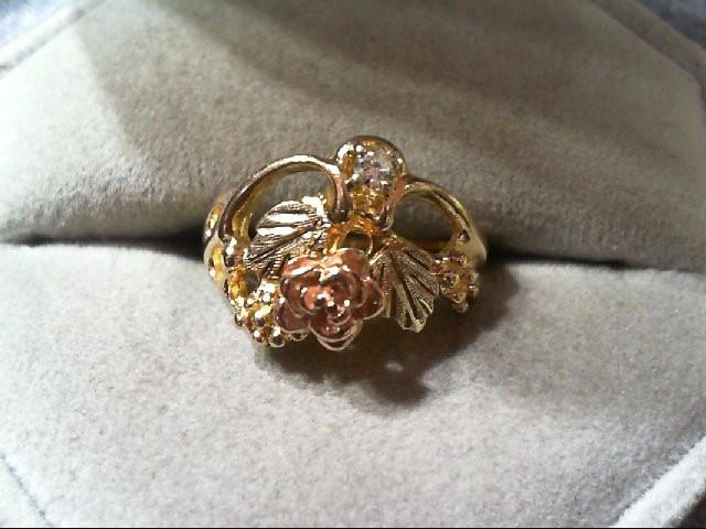 Lady's Diamond Fashion Ring .05 CT. 10K Tri-color Gold 2.9g
