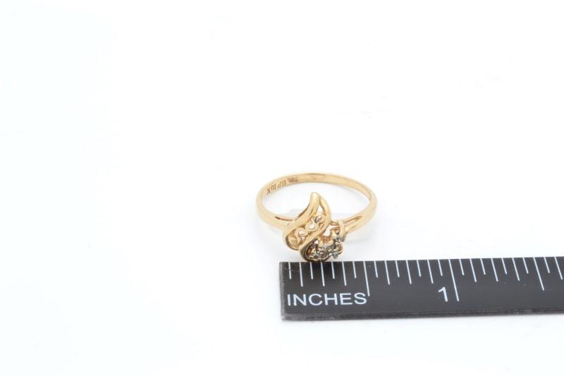 ESTATE DIAMOND HEART RING SOLID 14K GOLD LOVE PROMISE FILIGREE 6.25