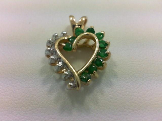 Emerald Gold-Diamond & Stone Pendant 8 Diamonds 0.08 Carat T.W. 14K Yellow Gold