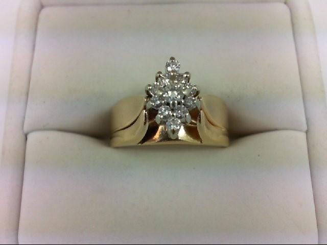 Lady's Diamond Cluster Ring 11 Diamonds 0.32 Carat T.W. 14K Yellow Gold 6.5g