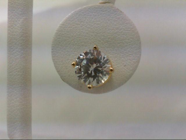 Cubic Zirconia Gold-Stone Earrings 14K Yellow Gold 2.9g