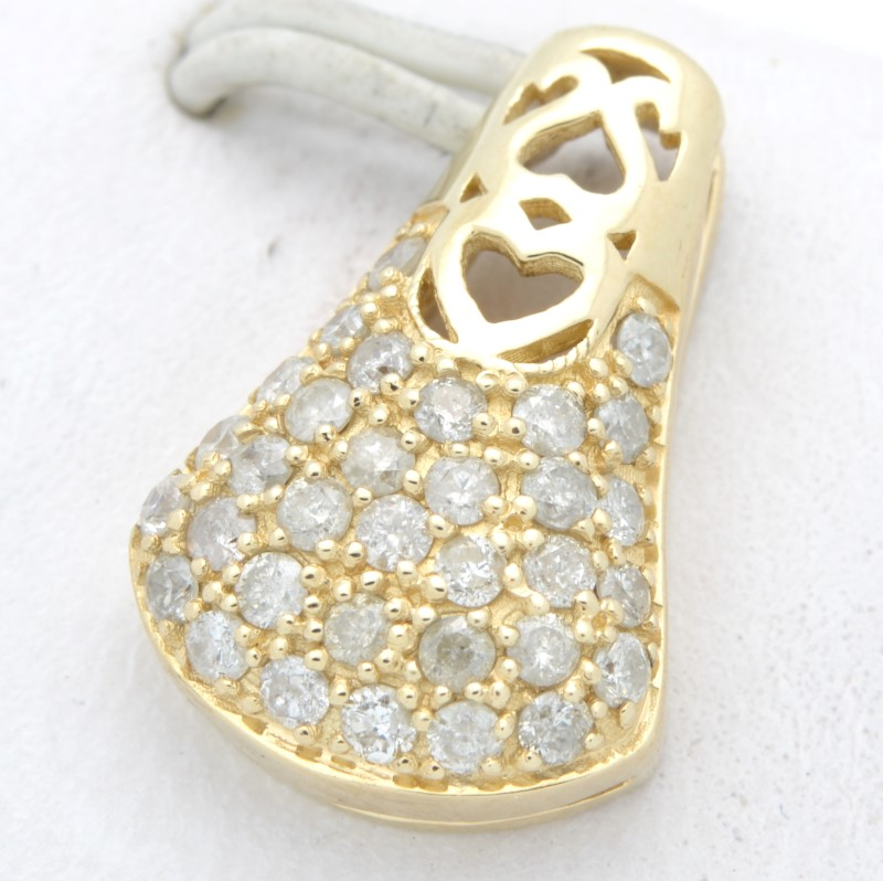 ESTATE DIAMOND PENDANT CHARM SOLID 14K YELLOW GOLD HEART LOVE DROP