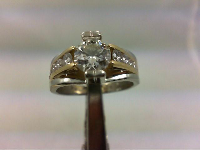 Lady's Diamond Engagement Ring 13 Diamonds 1.30 Carat T.W. 18K 2 Tone Gold