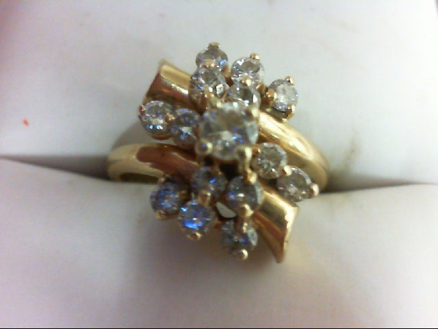 Lady's Diamond Cluster Ring 15 Diamonds 0.9 Carat T.W. 14K Yellow Gold 4.6g Size