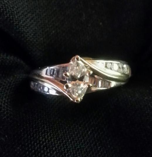 Lady's Diamond Solitaire Ring 13 Diamonds .47 Carat T.W. 14K White Gold 3.1dwt
