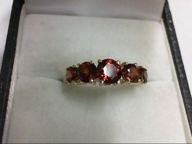 Almandite Garnet Lady's Stone Ring 10K Yellow Gold 1.8g