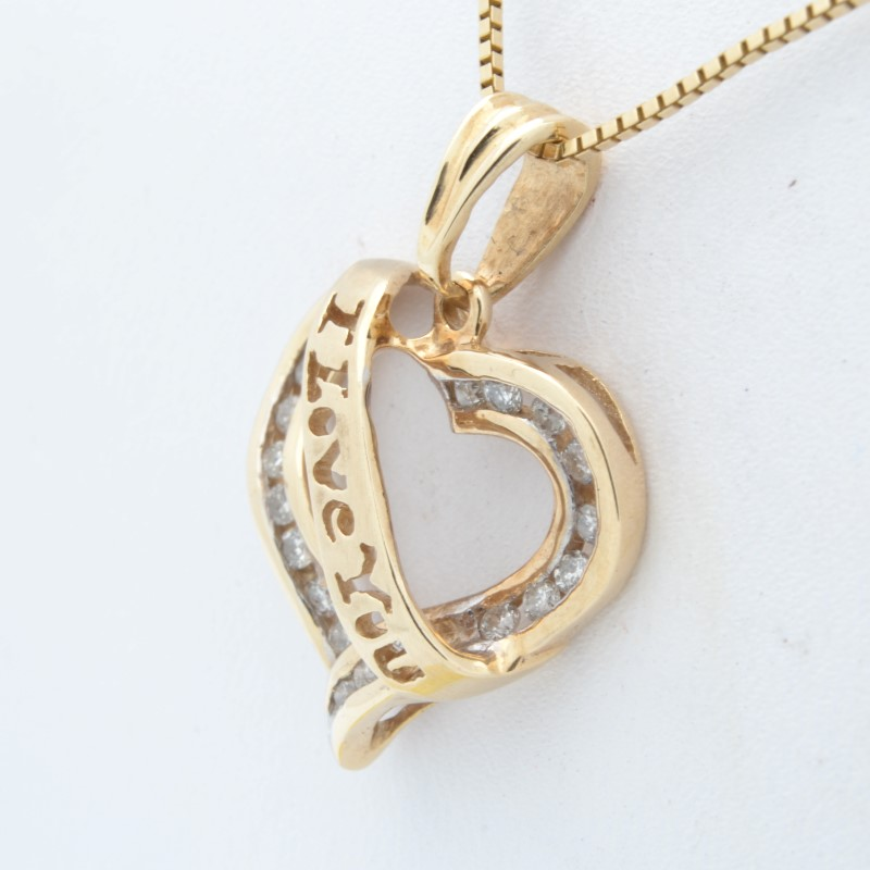 ESTATE DIAMOND HEART PENDANT CHARM SOLID 10K YELLOW GOLD I LOVE YOU