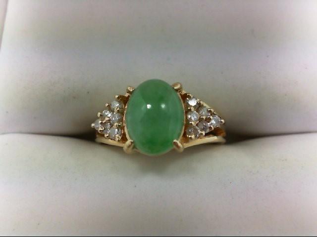 Jade Lady's Stone & Diamond Ring 12 Diamonds 0.24 Carat T.W. 14K Yellow Gold 2.8