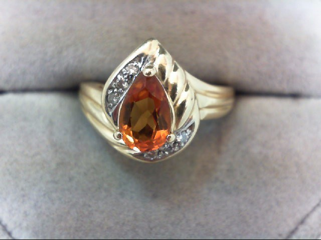 Citrine Lady's Stone & Diamond Ring 6 Diamonds .06 Carat T.W. 14K Yellow Gold