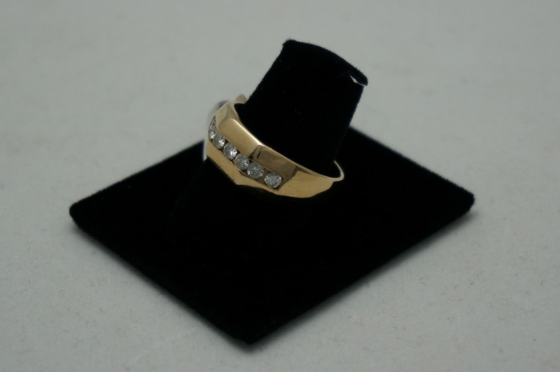 Gent's Gold-Diamond Wedding Band 7 Diamonds .56 Carat T.W. 14K Yellow Gold 5dwt