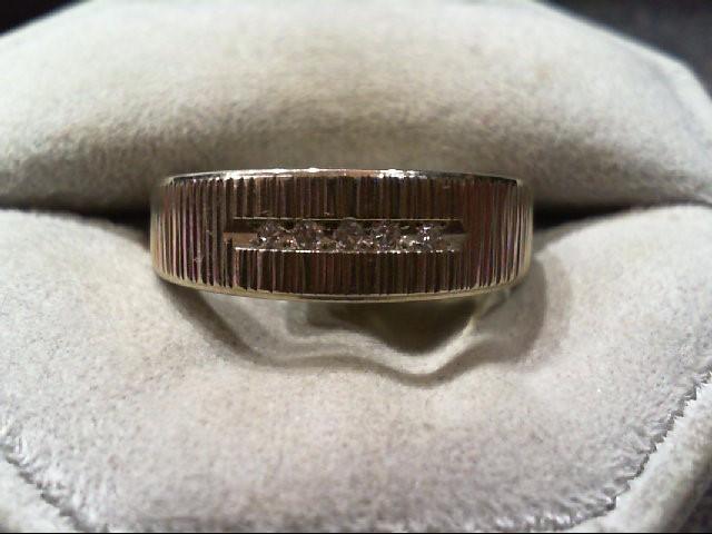Gent's Gold-Diamond Wedding Band 5 Diamonds .05 Carat T.W. 14K White Gold 5.2g