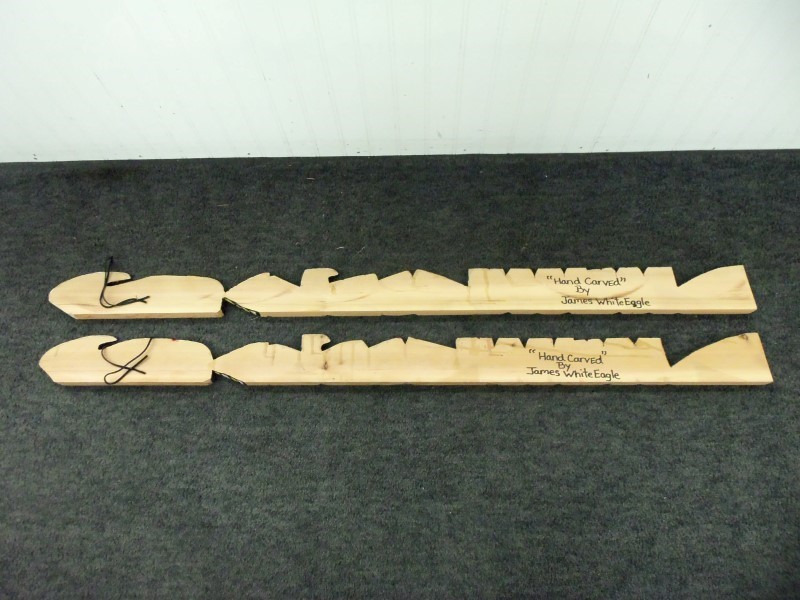 NATIVE CARVED WALL PLAQUE SET SIGNED