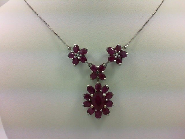 Ruby Stone Necklace 925 Silver 6.4g