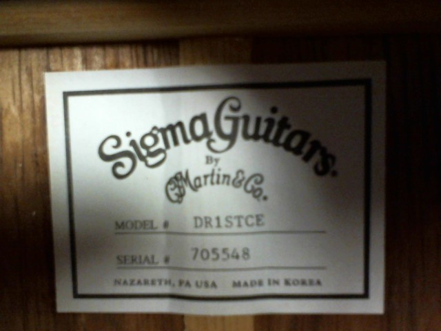 SIGMA Electric-Acoustic Guitar DR-1STCE