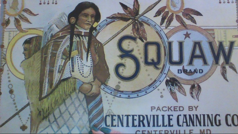 SQUAW BRAND TIN SIGN
