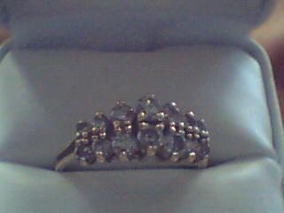 Lady's Gold-Diamond Anniversary Ring 14 Diamonds 0.8 Carat T.W. 10K Yellow Gold