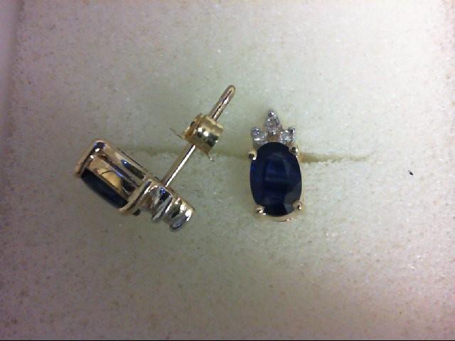 Sapphire Gold-Diamond & Stone Earrings 6 Diamonds 0.06 Carat T.W. 10K Yellow Gol