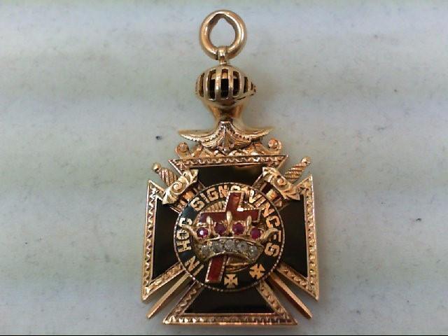 Ruby Gold-Diamond & Stone Pendant 5 Diamonds .10 Carat T.W. 14K Yellow Gold 17g