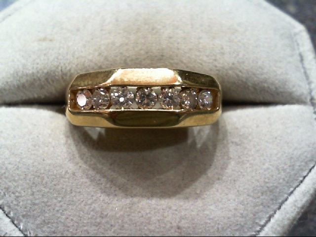 Gent's Gold-Diamond Wedding Band 7 Diamonds .49 Carat T.W. 14K Yellow Gold 6.2g