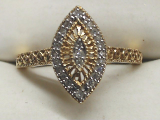 Lady's Diamond Cluster Ring 21 Diamonds .21 Carat T.W. 10K Yellow Gold 2.3g
