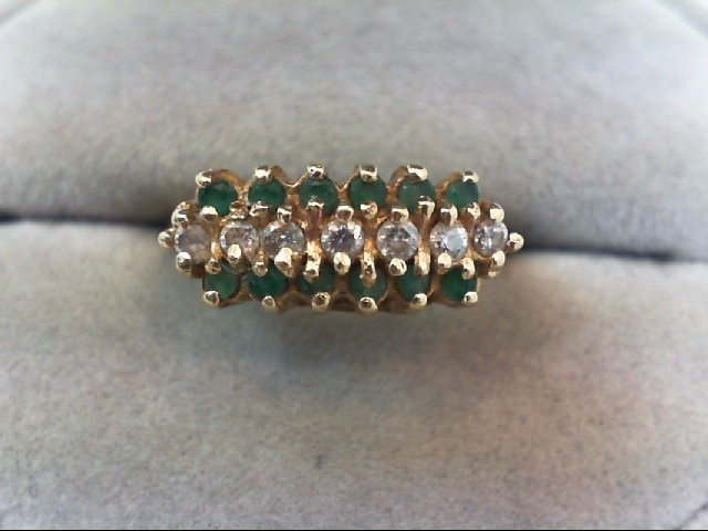 Emerald Lady's Stone & Diamond Ring 7 Diamonds .28 Carat T.W. 14K Yellow Gold