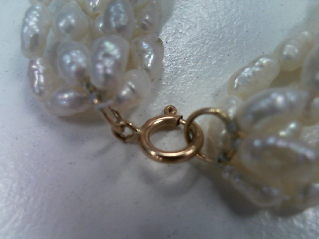 """18"""" Pearl Stone Necklace 14K Yellow Gold 32g"""