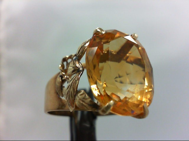 Citrine Lady's Stone Ring 14K Yellow Gold 6.4g Size:8.25