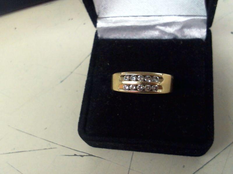 Lady's Diamond Wedding Band 10 Diamonds .30 Carat T.W. 14K Yellow Gold 5.7g