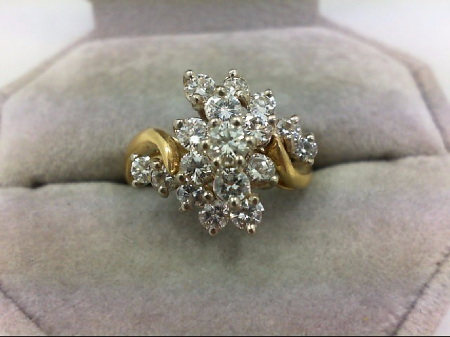 Lady's Diamond Cluster Ring 17 Diamonds 1.69 Carat T.W. 18K Yellow Gold 5.8g Siz